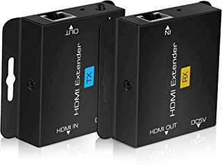 196ft/60m HDMI Extender Over Cat 5e/6/7, avedio links 1080P@60Hz HDMI Ethernet Extender Adapter with Single POC Power Supp...