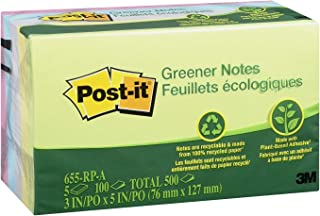 Post-it Greener Notes, America's #1 Favorite Sticky Note, 3 in x 5 in, Helsinki Collection, 5 Pads/Pack (655-RP-A)