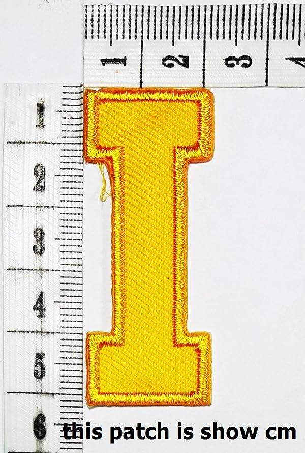 Yellow letter I patch logo Sew On Patch Clothes Bag T-Shirt Jeans Biker Badge Applique