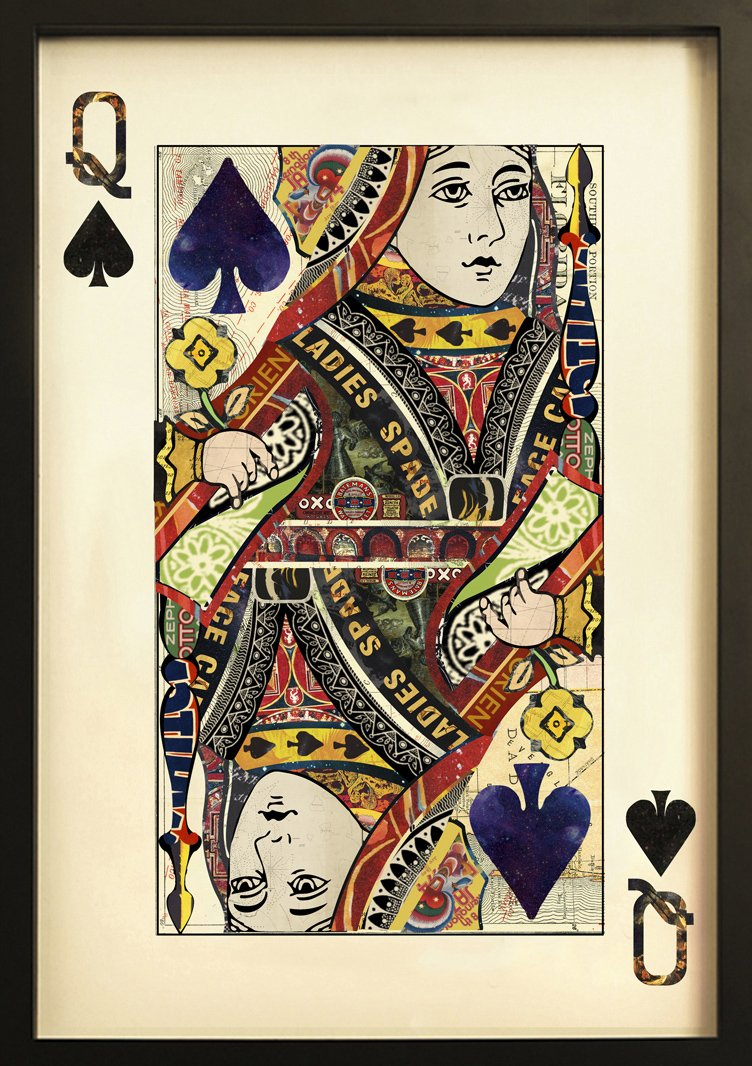 FEBLAND Queen of Hearts Playing Card Collage Wall Art, Multi Colour, 3.5 x 60 x 90 cm