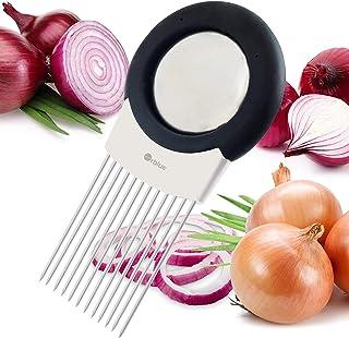 Cuisine Oignon Trancheuse Oignon Coup/é Hachoir Titulaire Fourchette Tomate L/égume Trancheuse Aide /À La Coupe Guide Coupe-Fruits Accessoires De Cuisine Bleu