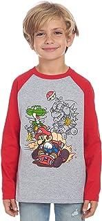 Nintendo Boys Super Mario Kart Long Sleeve Graphic Tee Shirt Top (10/12, Grey/Red)