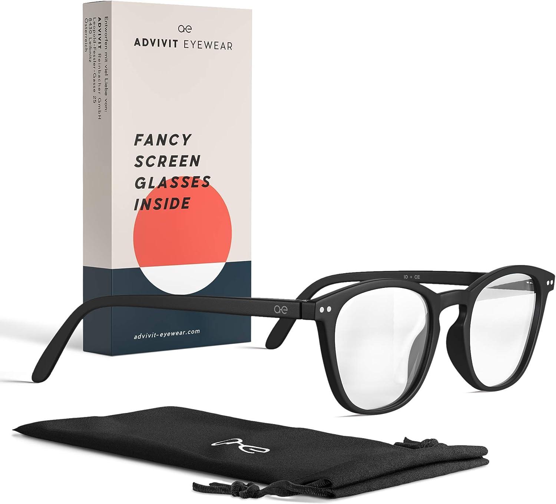 ADVIVIT Gafas originales unisex filtro luz azul   2 colores sin fuerza   Gafas con filtroazul para pantalla del ordenador ligeras tinte – Evita vista cansada en la oficina