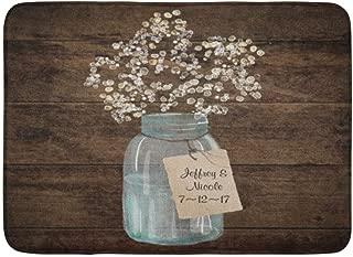 zixi Custom Doormats Rustic Barn Wedding Wood Mason Jar Babys Breath Home Door Mats 15.7