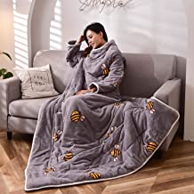 Lazy Quilt Blanket, Removable TV Blanket with Sleeves, Wearable Blanket, Multifunction Winter Warm Quilt,E,59 * 78.7inch