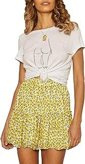 ZESICA Women's Summer Bohemian Floral Printed High Waist Ruffle A Line Beach Mini Skirt