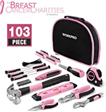 WORKPRO 103-Piece Pink Tool Kit – Ladies Hand Tool Set with Easy Carrying Round..