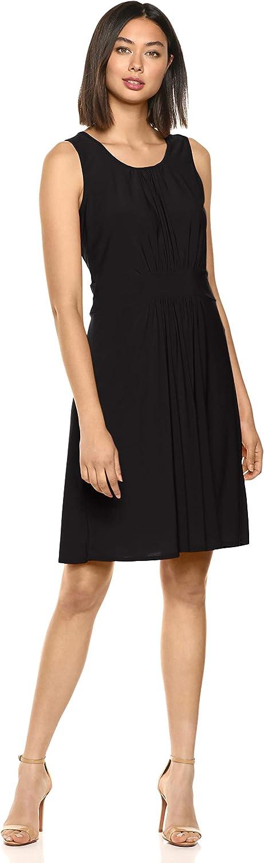 Star Vixen Women's Plus Size Sleeveless Banded Skater Waist Bodice and Shirred Skirt Short Ity Knit Dress