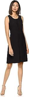 Star Vixen Women's Plus-Size Sleeveless Banded Skater Waist Shirred Bodice