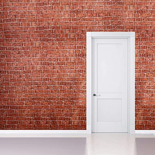 6e6f96843f Coavas Decorative Self-Adhesive Wallpaper Red Brick Decoration Printed  Stick Paper Easy to Apply Peel