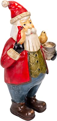 Standing Santa With Birds Festive Red 14 x 7 Resin Stone Christmas Figurine