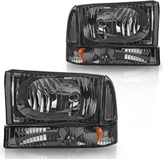 For 1999-2004 F250 F350 F450 F550 Super Duty Headlight Assembly+Park/Signal Lamps Smoke Lens Amber Reflector (Driver and Passenger Side)