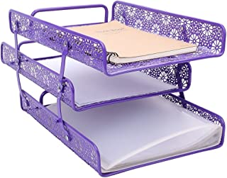 Crystallove Purple Metal Hollow 3-Tier Document Tray Magazine Frame Paper File Holder