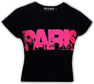 Kids Girls I Love Paris Print Fashion Crop Top Trendy T Shirt Age 7-13 Years