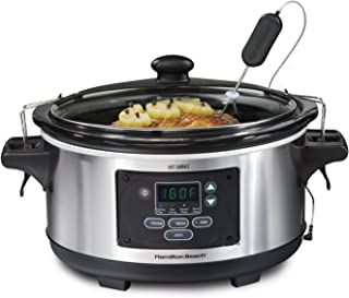 Hamilton Beach 33969A 6-Quart Programmable Set & Forget w/Temperature Probe Slow Cooker, Stainless Steel (Renewed)