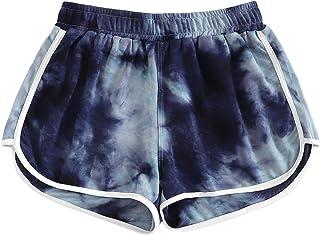SweatyRocks Women's Tie Dye Print Yoga Workout Shorts Casual Lounge Shorts