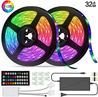 LED Strip Lights, 32.8 feet 5050RGB Color Changing 300 LED with Lights, Infrared Music Rhythm Sound Control Light Belt, Used for Home Lighting Kitchen Bed bar Home Party DIY Decoration