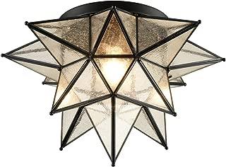 Dazhuan Boho Moroccan Black Seeded Glass Moravian Star Flush Mount Ceiling Lights, 18 Inches