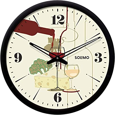 Amazon Brand - Solimo 12-inch Wall Clock -Cocktail (Silent Movement, Black Frame)