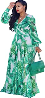 19f0a797760 Womens Maxi Dress Boho Chiffon Floral Printed Long Dresses V-Neck Plus Size  (FBA