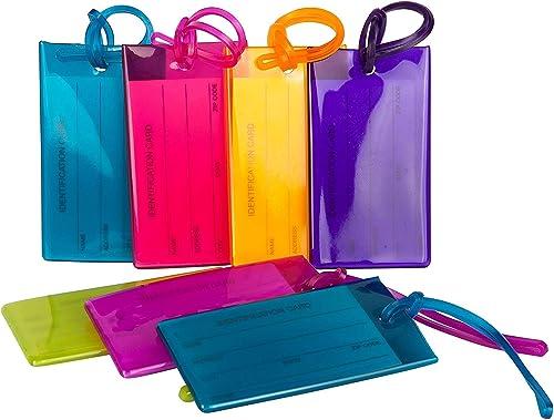 Pack de 7 étiquettes de Bagage TravelMore, étiquettes d'identification en Silicone Souple pour Sacs et valises - Lot ...