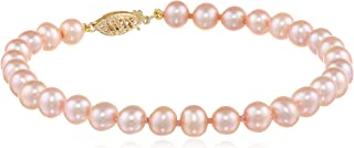14k Gold 5-6mm Freshwater Cultured AA-Quality Pearl Bracelet