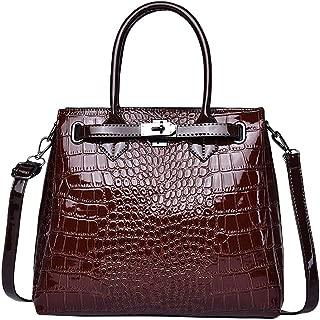 Women Leather Bag Polished Croc Pattern Top Handle Handbag with Lock Briefcase Office Lady HandBag Satchel Hard Shell Shoulder Bag Vintage