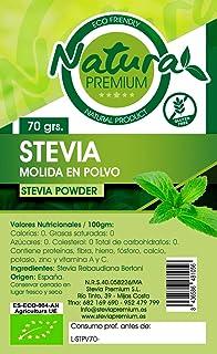 Natura Premium Estevia Hoja Molida en Polvo Eco, 70g, Pack de 1