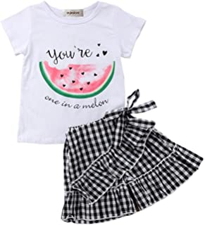 stylesilove Toddler Girls You're One in A Melon Tee and Checkered Shorts 2 pcs Outfit