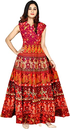Women s Jaipuri Printed Cotton Long Maxi Kurti Dress FR 1865 Multicolour Free Size Upto 42 XL