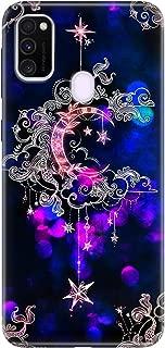 Cekuonline Samsung Galaxy M30s Kılıf Desenli Esnek Silikon Telefon Kabı Kapak - Ayyıldız Neon Mandala