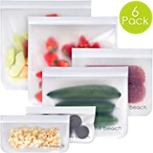 Reusable Storage Bags - 6 Pack Pine Beach (2 Large Litre Bags, 2 Sandwich Bags, 2 Snack Bags) Safe Ziplock Leakproof Seal, BPA & Silicone Free, Easily Washable Eco Food Containers for Lunch & Travel