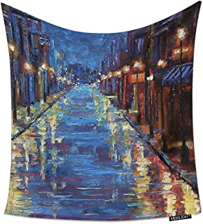 Moslion Room Art Wall Tapestry New Orleans Bourbon Street Watercolor Painting Cool Dorm/Bedroom Decor Tapestry Wall Hanging for Men/Boy/Girl 60W X 90H Inches