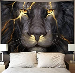 HOMESTORES Golden Cool Lion King paninting Wall Tapestry Hippie Art Tapestry Wall Hanging Home Decor Extra Large tablecloths 60x80 inches for Bedroom Living Room Dorm Room