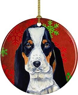Caroline's Treasures LH9329-CO1 Basset Hound Red Snowflake Holiday Christmas Ceramic Ornament, Multicolor