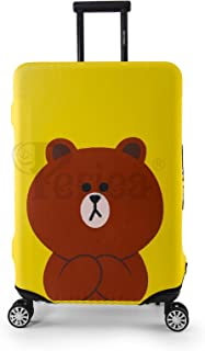 Periea Elasticated Suitcase Luggage Cover - 13 Different Designs - Small, Medium or Large (Yellow Teddy, Large)