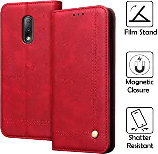 REAL-EAGLE Oneplus 7 Case, Oneplus 7 Wallet Case,OnePlus 7 Premium PU Leather Wallet Protection Case with [Kickstand] [Card Slots] [Magnetic Closure] for OnePlus 7 2019 (Red 1+7)