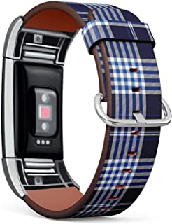 Compatible with Fitbit Charge 2 - Leather Wristband Bracelet Replacement Accessory Band (Includes Adapters) - Plaid Check Navy Cobalt