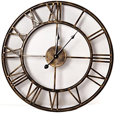 ZHENAI Iron Wall Clock Super Silent 3D European Style Retro Creative Clock Art Decoration Living Room