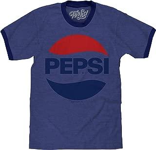 Tee Luv Pepsi Shirt - Classic Pepsi Cola Ringer T-Shirt (Blue)
