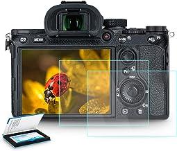 (2 بسته) محافظ صفحه شیشه ای معتدل محافظ صفحه LCD LCD A7RIII A7RII A7III A7II A7S II A9 ، فوق العاده نازک ضد اثر انگشت ضد خش و ضد خش