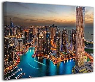 Hd8yehao Dubai Skyline Marina Canvas Wall Art Prints Photo Modern Paintings Decorative Giclee Artwork Wall Decor Wood Frame Gallery Stretched