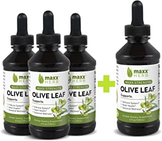 Maxx Herb Olive Leaf Liquid Extract (4 Oz Bottle with Dropper) Max Strength, Absorbs Better Than Olive Leaf...