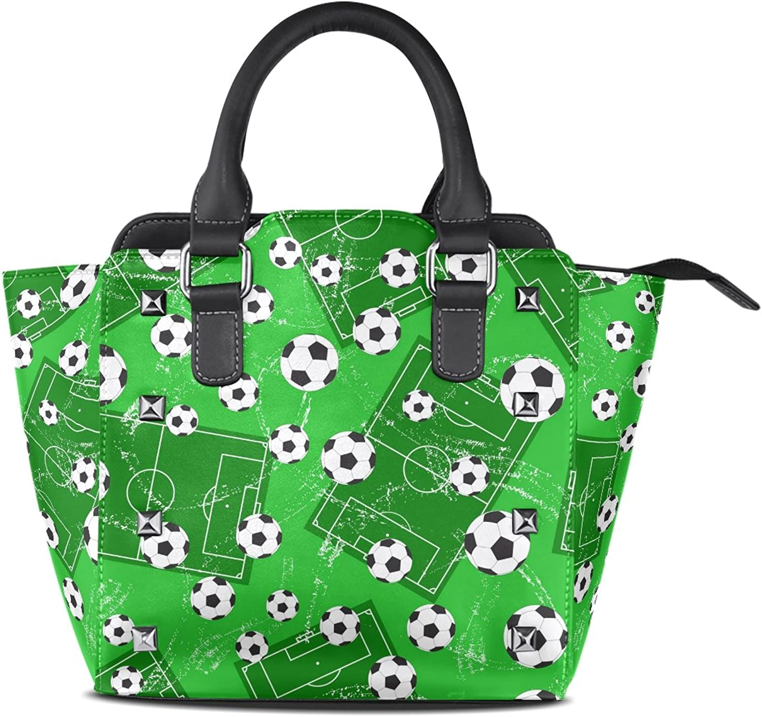 Sunlome Football Gate and Soccer Sports Ground Print Handbags Women's PU Leather Top-Handle Shoulder Bags