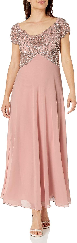 J Kara Women's Petite Short Sleeve Cowl Neck Long Beaded Dress