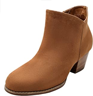 Luoika Women's Wide Width Ankle Boots - Mid Chunky Block Heels Round Toe Slip on Side Zipper Booties.