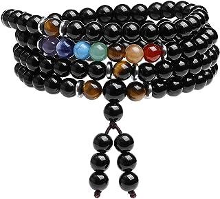 CrystalTears 108 Mala Prayer Beads Wrap Bracelet Natural Black Obsidian Stone Bracelet Necklace 7 Chakra Reki Healing Crys...