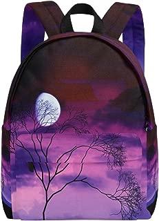 School Backpack Daypack Lightweight Bright Moon Tree Midnight Werewolf Rucksack Canvas Book Bag for boys girls Kids Teens