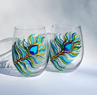 2 Peacock Feather Painted Stemless Wine Glasses