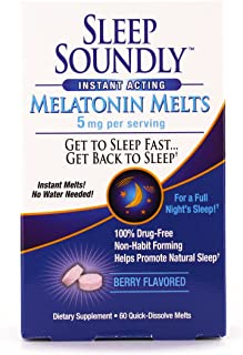 Sleep Soundly Melatonin Melts 5 mg Berry Flavor – Nighttime Sleeping Aid for Adults, Melatonin Melts, Berry Flavored, Fast...